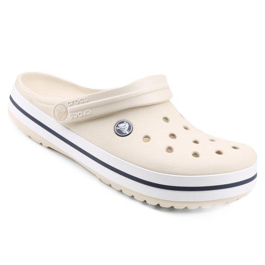 ebeaa5bbba8 Crocs Crocband - Bege e Branco - Compre Agora