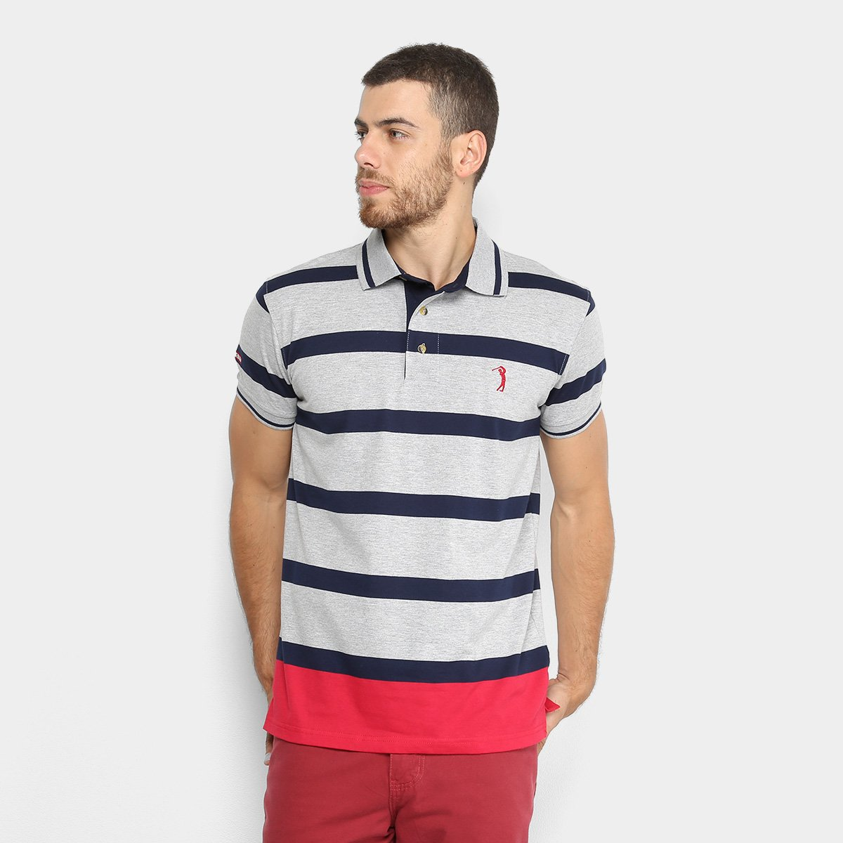 b5477f5619 Camisa Polo Aleatory Fio Tinto Listrada Masculina