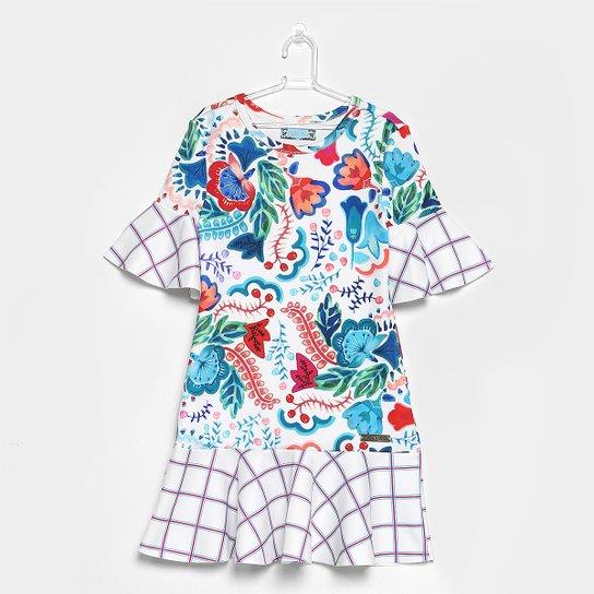 8256ced3112f1 Vestido Infantil Colcci Fun Sino Floral Xadrez - Compre Agora