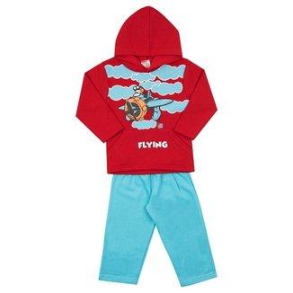 Conjunto Infantil Longo Jidi Kids Blusa com Capuz Flying e Calça em Moletom  Masculino 6ca3093c52c
