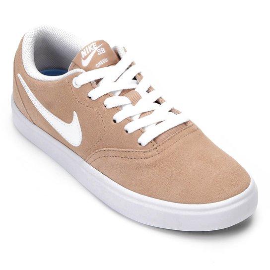 9bbd11fc3f0 Tênis Nike Wmns Sb Check Solar Feminino - Bege e Branco - Compre ...