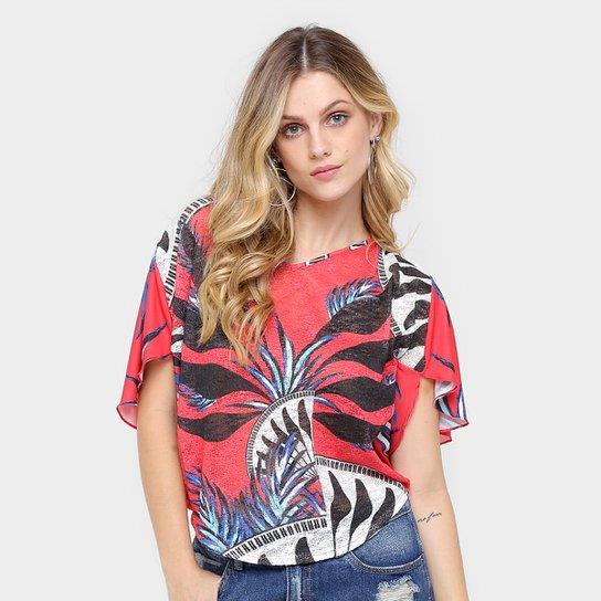 Blusa Morena Rosa Estampada Feminina - Compre Agora  ae50df0102ba1