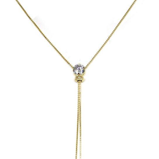 Colar Piuka Gravatinha Ponto De Luz Cristal Folheado A Ouro 18K - Cristal 6d08aa1440