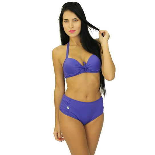 bad043404f9572 Biquíni Areia Mar Shortinho Cintura Alta Com Bojo Hot Pants - Roxo