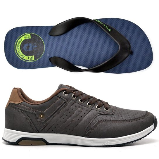 0d6781457282a Kit Tenis Jogging + Chinelo Top Franca Shoes Masculino - Marrom e ...