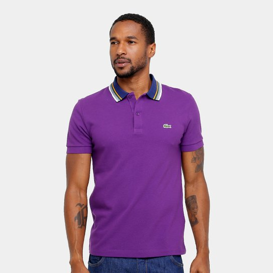 bee3799bca8b1 Camisa Polo Lacoste Piquet Regular Fit Gola Color Masculina - Compre ...