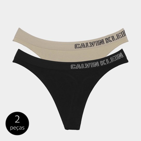 Kit Calvin Klein Calcinha Fio Dental Sem Costura 2 peças - Compre ... 8cc0d22ef44