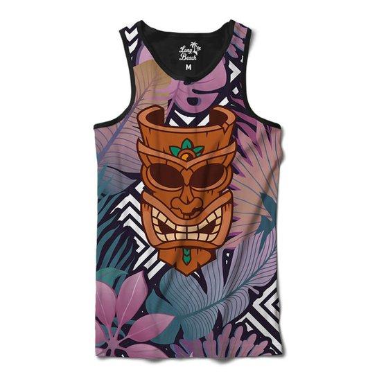 72de4f1ee7fdc Camiseta Regata Long Beach Totem Floral Curandeiro Sublimada Masculina -  Roxo