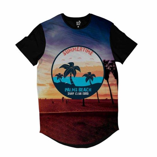 Camiseta Longline Long Beach California Palmeiras Sublimada Masculina - Roxo 39e467e035fdd