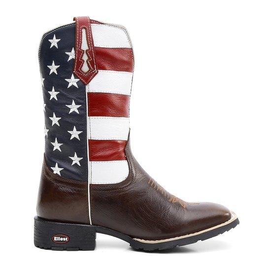 21cb8edba00 Bota Texana Bandeira Eua Bico Quadrado - Marrom e Azul - Compre ...