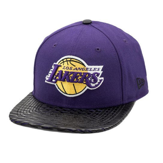 Boné New Era Snapback Original Fit Los Angeles Lakers Leather Rip - NBA -  Roxo 44ba9a584e1