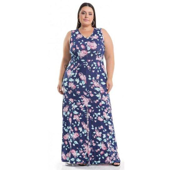 9a189a72ea980 Vestido Longo Viscolycra Floral Miss Masy Plus Size - Roxo. Loading.