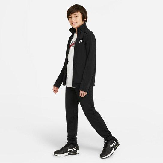 Agasalho Infantil Nike NSW Futura Poly Cuff TS - Preto+Branco