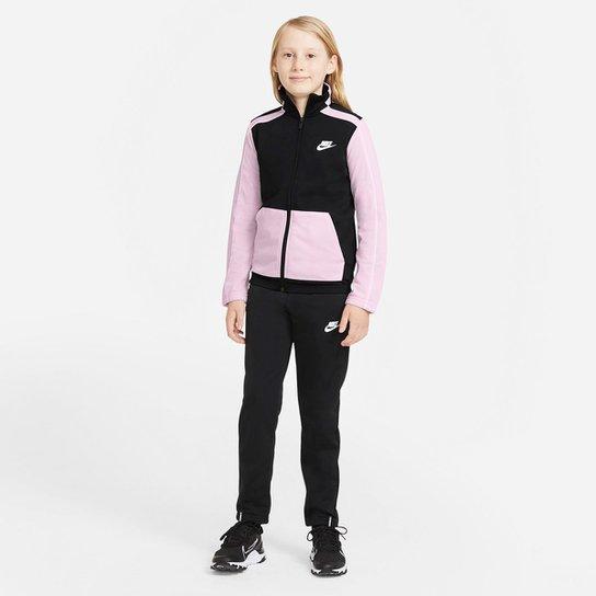 Agasalho Infantil Nike NSW Futura Poly Cuff TS - Preto+Rosa