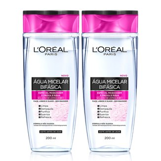 Água Micelar Bifásica Especial L'Oréal Paris Maquiagem à Prova D'Água 200ml - 2 Unidades