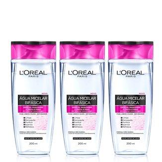 Água Micelar Bifásica Especial L'Oréal Paris Maquiagem à Prova D'Água 200ml - 3 Unidades