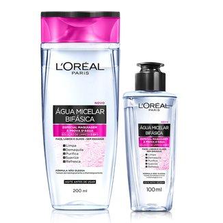 Água Micelar Bifásica Especial L'Oréal Paris Maquiagem à Prova D'Água 200ml e 100ml