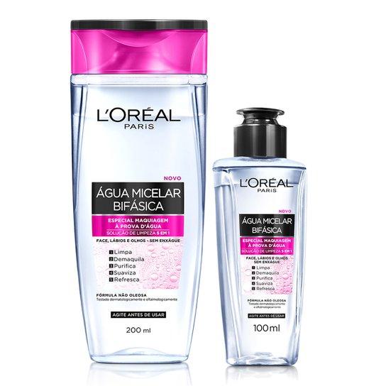 Água Micelar Bifásica Especial L'Oréal Paris Maquiagem à Prova D'Água 200ml e 100ml - Incolor