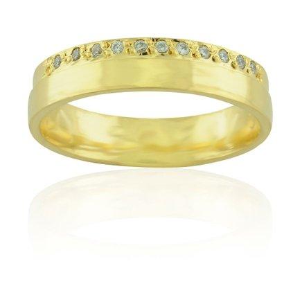 Imagem de Aliança casamento Luxo em ouro 18K Lisboa com Diamante - Feminina
