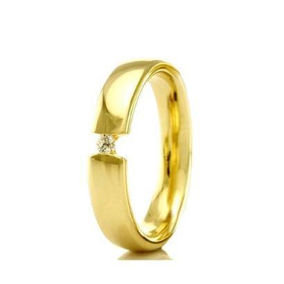 Imagem de Aliança de Casamento Feminina em Ouro 18k 3,5mm com Pedra WM Jóias