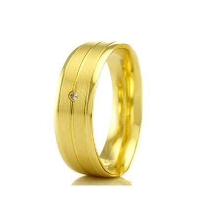 Imagem de Aliança de Casamento Feminina em Ouro 18k 5,4mm Acabamento Liso e Fosco WM Jóias