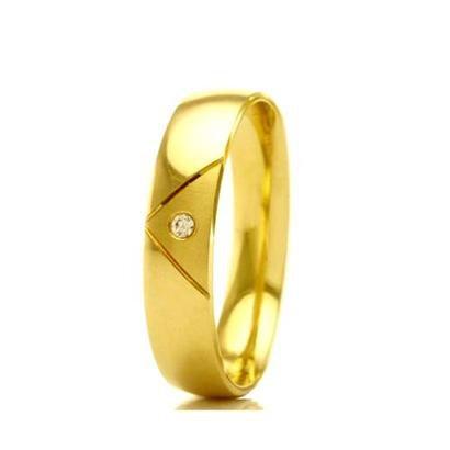 Imagem de Aliança de Casamento Feminina em Ouro 18k 5mm Acabamento Liso e Fosco WM Jóias