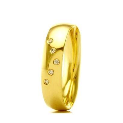 Imagem de Aliança de Casamento Feminina em Ouro 18k 5mm Pedras de Zircônica WM Jóias