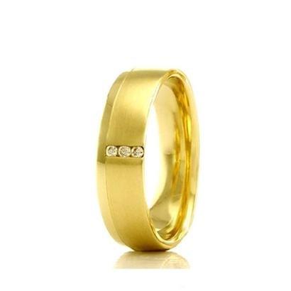 Imagem de Aliança de Casamento Feminina em Ouro 18k 6mm Acabamento Liso e Fosco WM Jóias