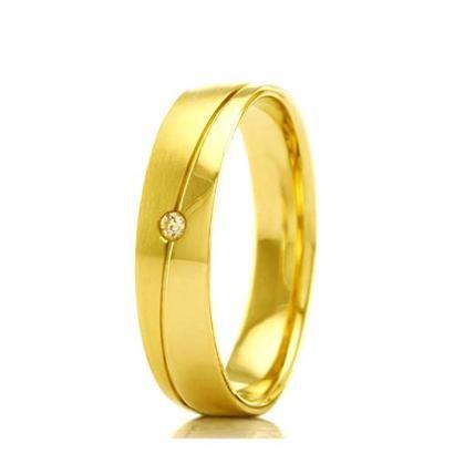 Imagem de Aliança de casamento feminina em Ouro 18k 750 WM Joias 3,5MM Com Zircônia F2363