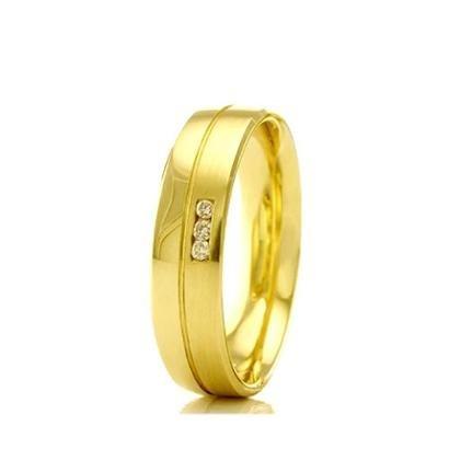 Imagem de Aliança de casamento feminina em Ouro 18k 750 WM Joias 4MM Com Zircônia F2331