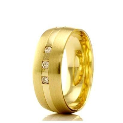 Imagem de Aliança de casamento feminina em Ouro 18k 750 WM Joias 5,2MM Com Zircônia F2356