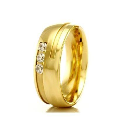 Imagem de Aliança de casamento feminina em Ouro 18k 750 WM Joias 5,4MM Com Zircônia F2318