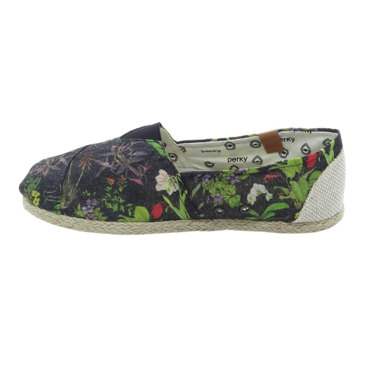 Alpargata Perky Botany - Preto e verde