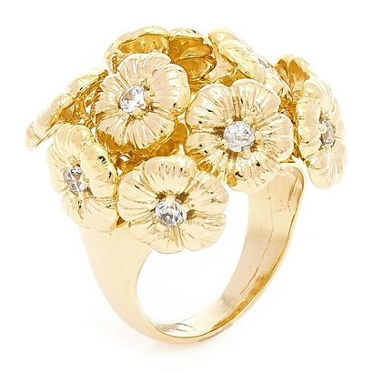 Anel Banhado A Ouro Buque De Flores E Zirconias