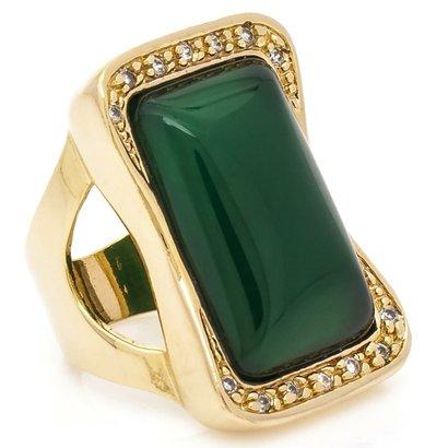 Anel Banhado A Ouro Com Jade E Zirconias