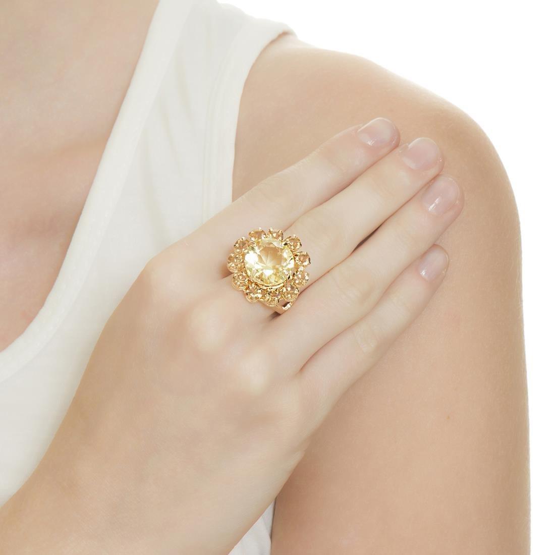 Anel Banho De Ouro Formato De Flor Cristal - Amarelo