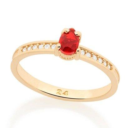 b66debcb6 Anel com Zircônias e Pedra Rommanel - Vermelho - Compre Agora