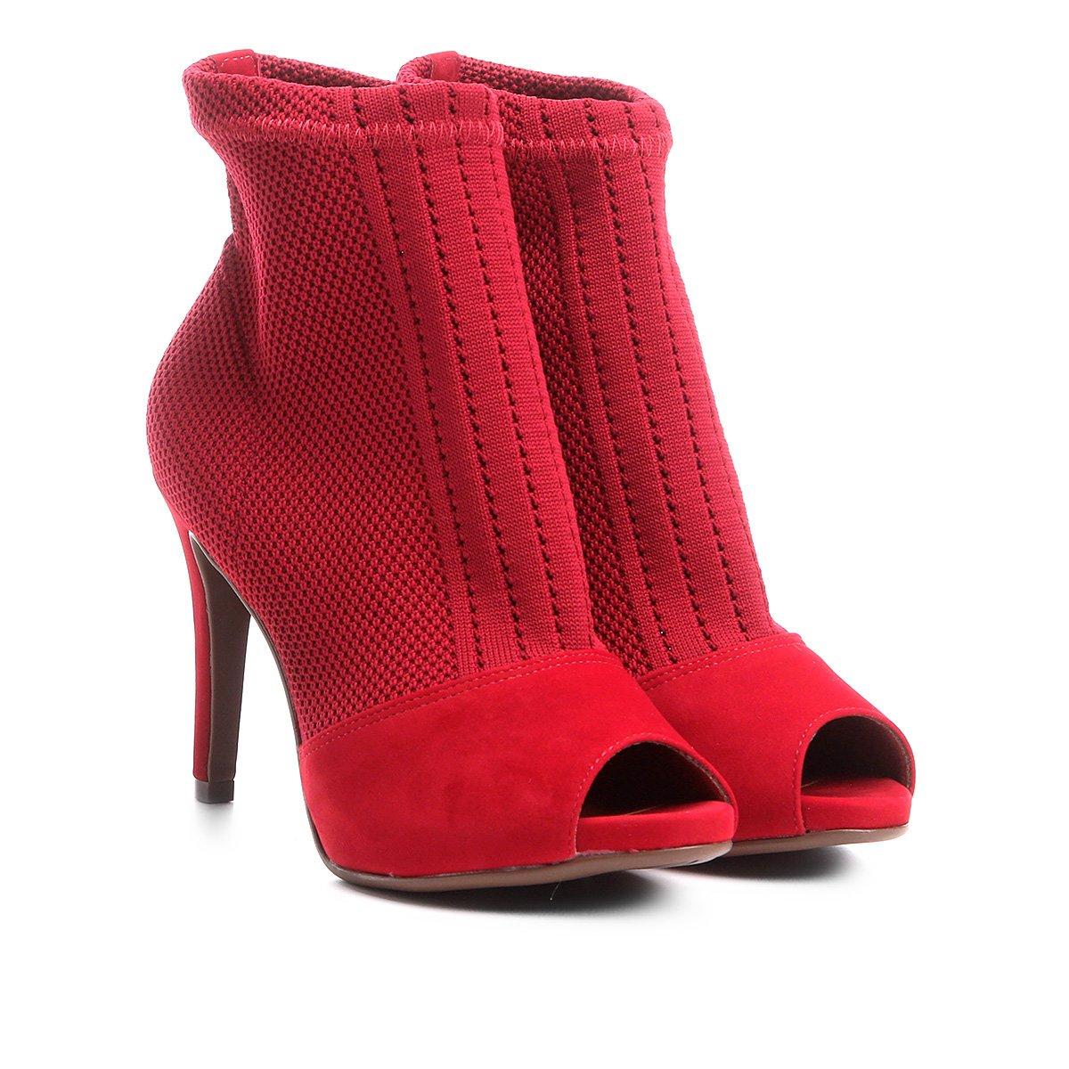 Fino Salto Ankle Vermelho Malha Boot Ankle Boot Bebecê wAvnOqqpX