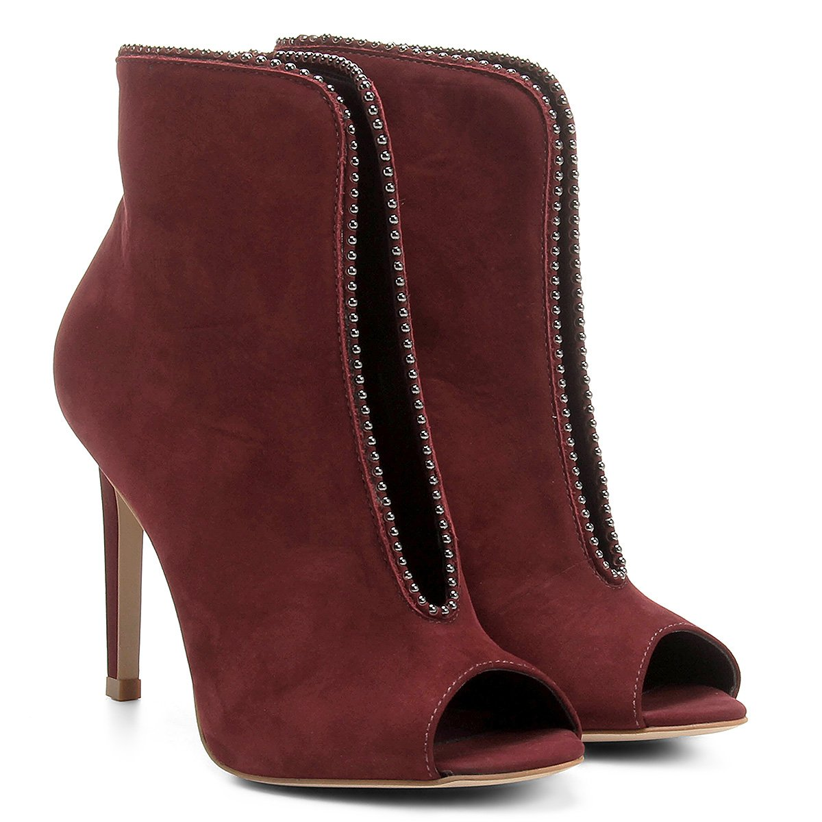 Ankle Vinho Capodarte Feminina Couro Boot Ankle Boot Tachas f0Rrfqx