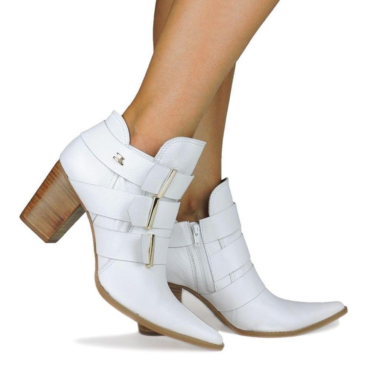 Boot Branco Ankle Feminino Boot Mirtz Couro Dina Ankle 60Eqrx0