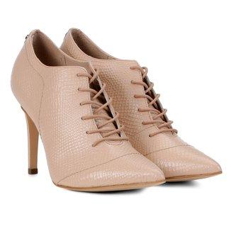 Ankle Boot Couro Jorge Bischoff Bico Fino Textura Cobra