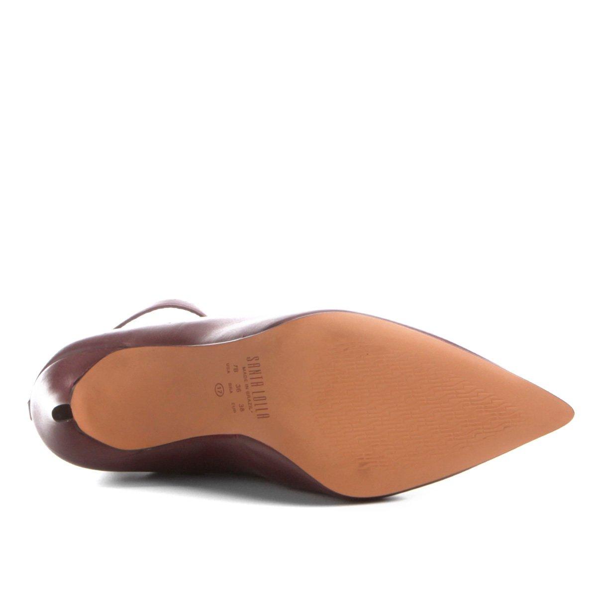 Frontal Salto Recorte Fino Ankle Boot Lolla Couro Vinho Santa wBZ0zpq