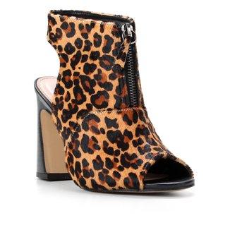 Ankle Boot Couro Shoestock Pelo Salto Alto