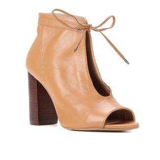 Ankle Boot Couro Shoestock Salto Alto Amarração