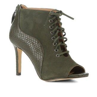 Ankle Boot Couro Shoestock Salto Fino Snake Feminina