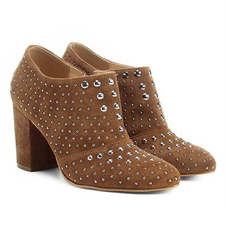 Ankle Boot Couro Shoestock Salto Grosso Hot Fix