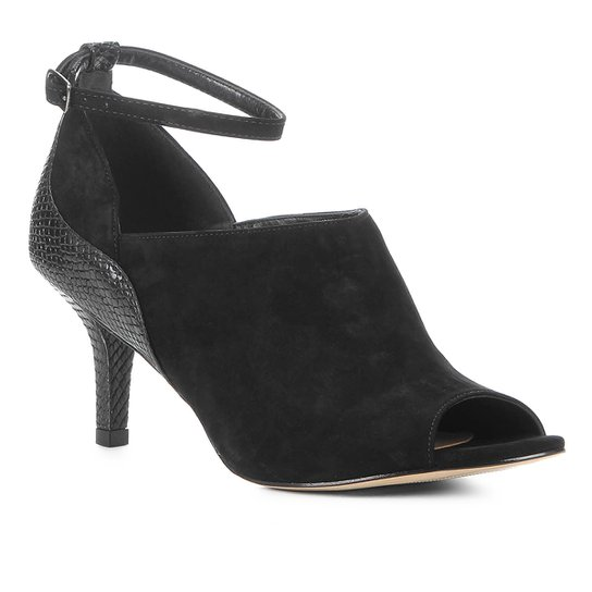 Ankle Boot Couro Shoestock Snake Curves Feminina - Preto