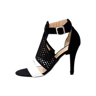 Ankle Boot Mahasa Telada em Nobuck Branca Salto Fino Feminina