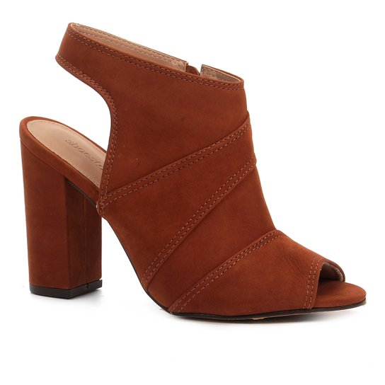 Ankle Boot Shoestock Meia Pata Nobuck Feminina - Caramelo