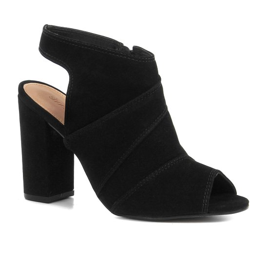 Ankle Boot Shoestock Meia Pata Nobuck Feminina - Preto